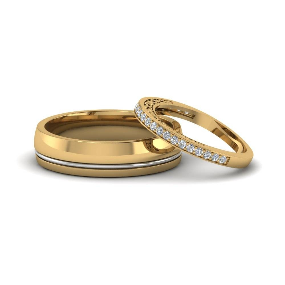 Unique Matching Wedding Anniversary Bands Gifts For Him And Her In For Yellow Gold Wedding Bands For Men (View 13 of 15)