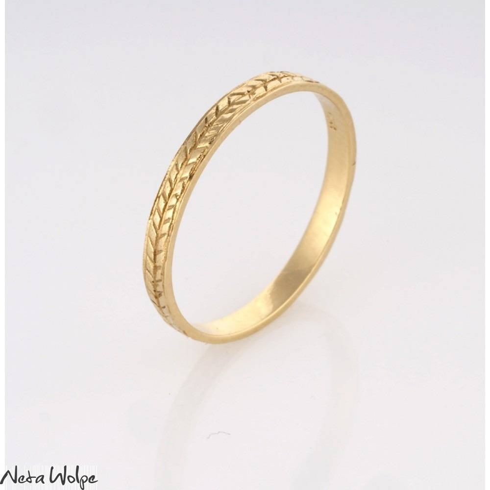 Unique Wheat Pattern Gold Wedding Band | Neta Wolpe With Regard To Engraved Gold Wedding Bands (Gallery 15 of 15)