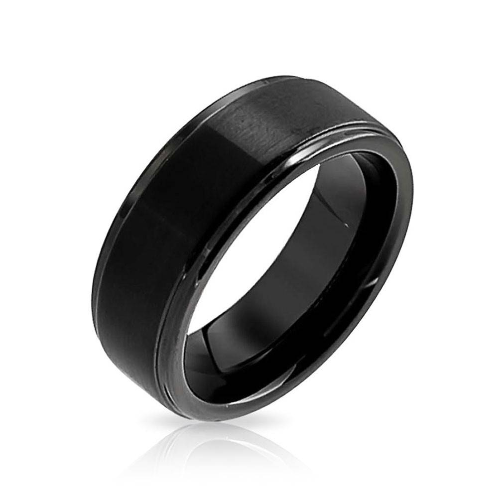 Unisex Matte Black Tungsten Wedding Band 8Mm Throughout Black Tungsten Wedding Bands (View 14 of 15)