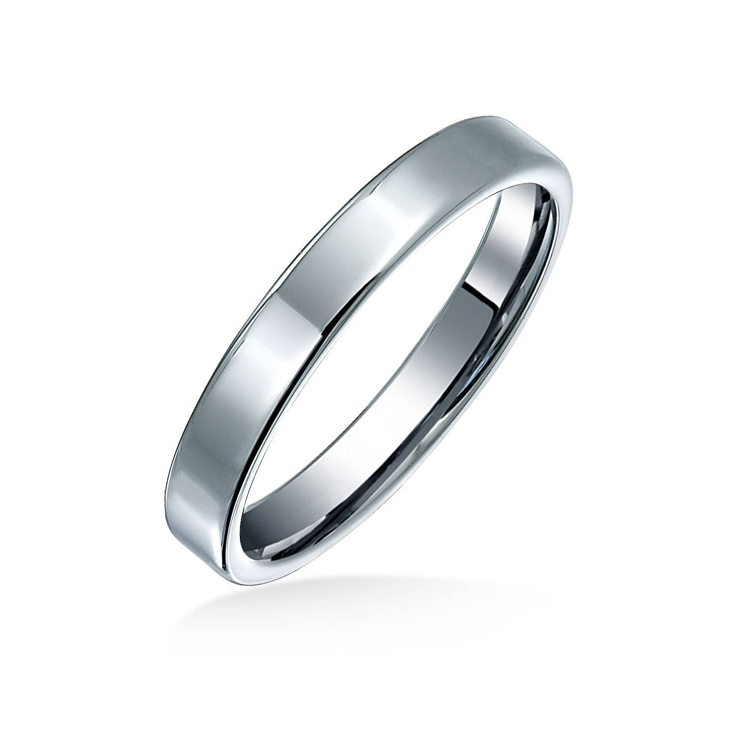 Unisex Polished Tungsten Flat Wedding Band Ring 3mm Pertaining To 2017 Mens Flat Wedding Bands (View 2 of 15)