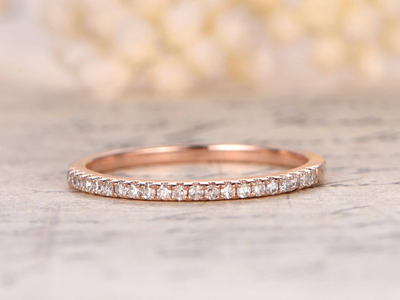 Valentine's Day Present 14K Rose Gold Wedding Band Half Pertaining To Rose Gold Diamond Wedding Bands (View 15 of 15)