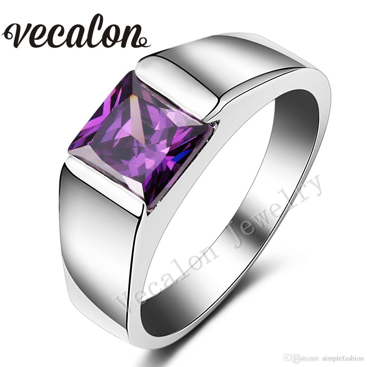Vecalon Male Jewelry Princess Cut 4ct Amethyst Cz 925 Sterling Intended For Wedding Rings With Amethyst (View 15 of 15)