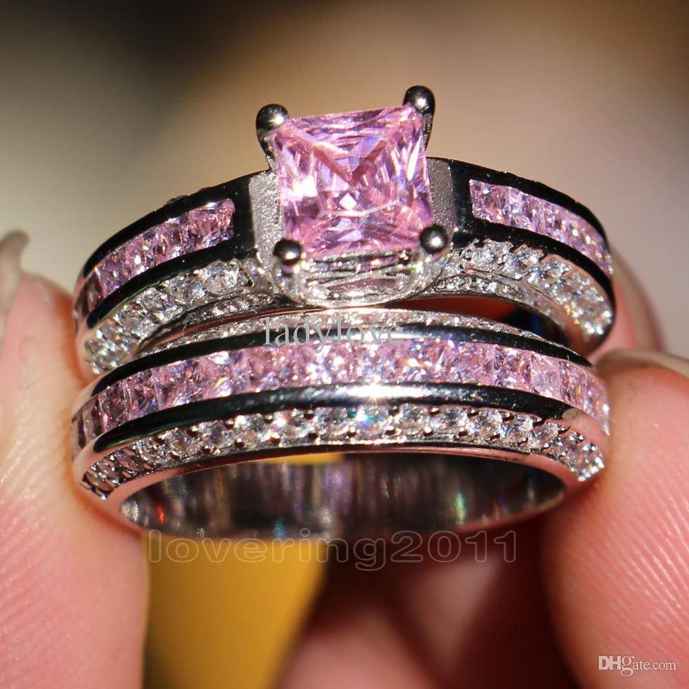Victoria Wieck Princess Cut Pink Sapphire Simulated Diamond 10Kt Throughout Newest Pink Sapphire Diamond Wedding Bands (View 11 of 15)