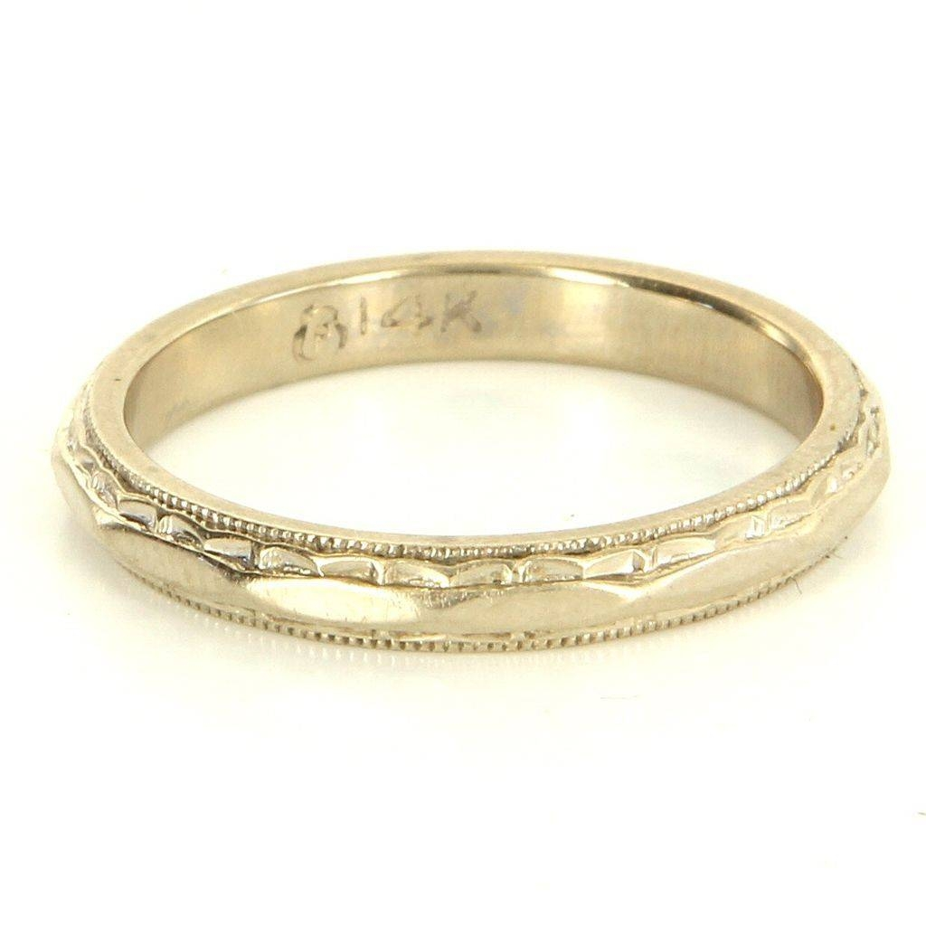 Vintage 14 Karat White Gold Wedding Band Stack Ring Fine Estate Throughout 14 Karat Gold Wedding Bands (View 14 of 15)