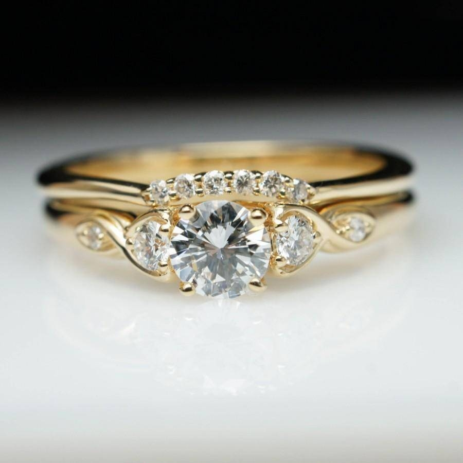 Vintage Antique Style Diamond Engagement Ring & Wedding Band Set With Regard To 2018 Yellow Gold Wedding Band Sets (View 6 of 15)