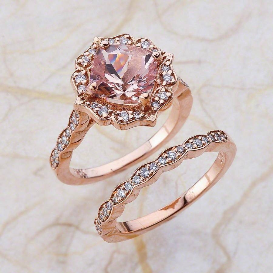 Vintage Bridal Set Morganite Engagement Ring And Scalloped Diamond Within Best And Newest Pink And Diamond Wedding Bands (Gallery 10 of 15)