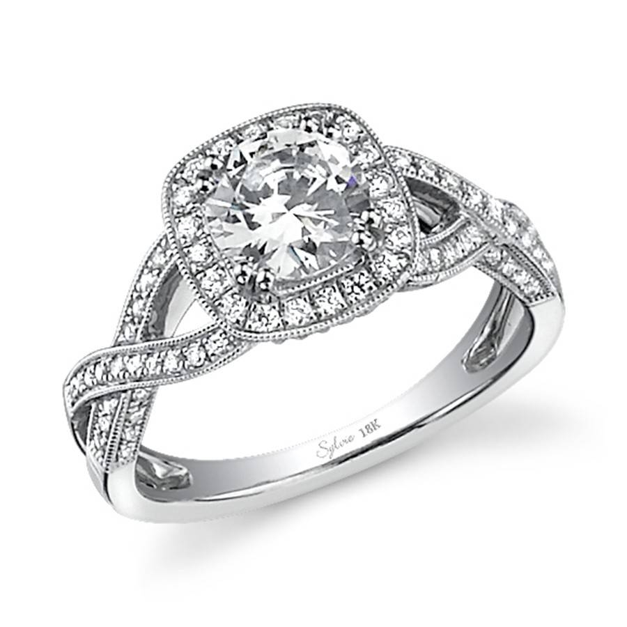 Vintage Crisscross Halo Diamond Engagement Ring Inside Vintage Halo Engagement Rings (View 8 of 15)
