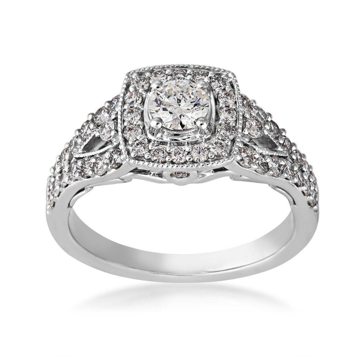 Vintage Diamond Engagement Ring In 14 Kt. White Gold – Yje0139Sc In Vintage Halo Engagement Rings (Gallery 5 of 15)