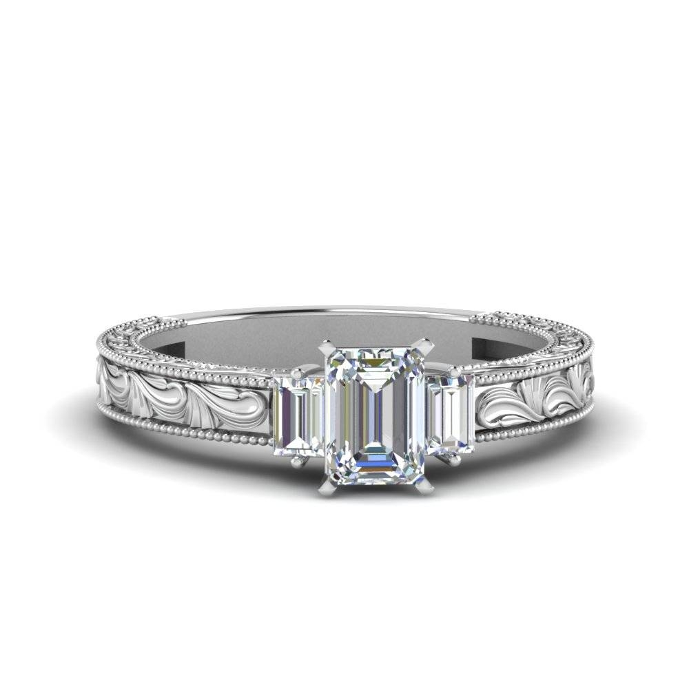 Vintage Emerald Cut With Baguette Diamond Engagement Ring In 14K Intended For Baguette Cut Diamond Engagement Rings (Gallery 10 of 15)