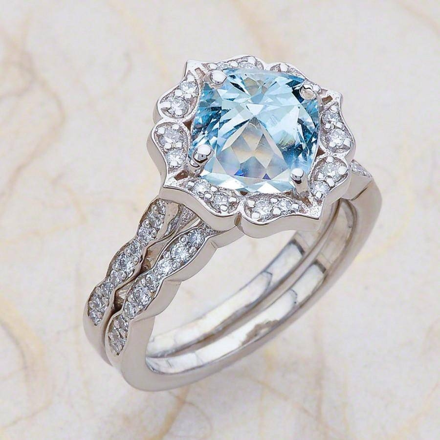 Vintage Floral Scalloped Bridal Set Aquamarine Engagement Ring And Inside Diamond Aquamarine Engagement Rings (View 14 of 15)