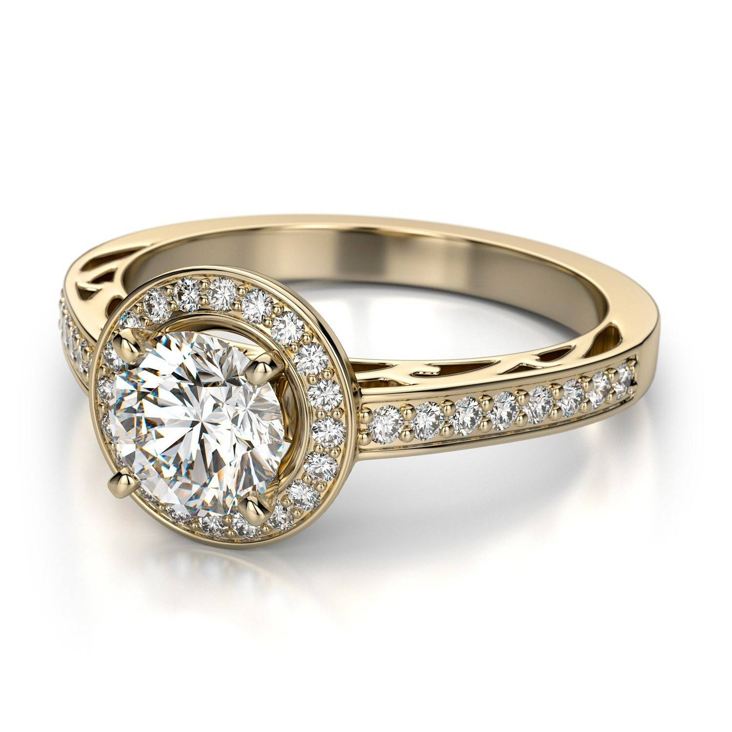 Vintage Gold Diamond Engagement Rings | Wedding, Promise, Diamond For Vintage Halo Engagement Ring Settings (View 11 of 15)