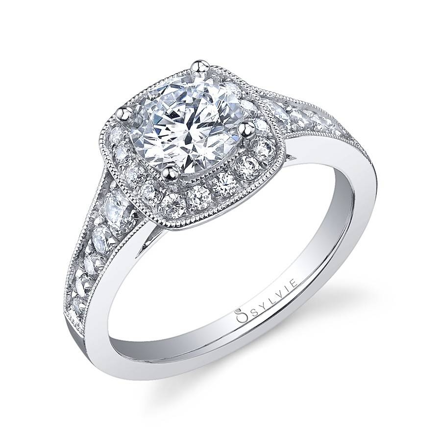 Vintage Halo Round Brilliant Diamond Engagement Ring Pertaining To Vintage Halo Engagement Rings (View 4 of 15)