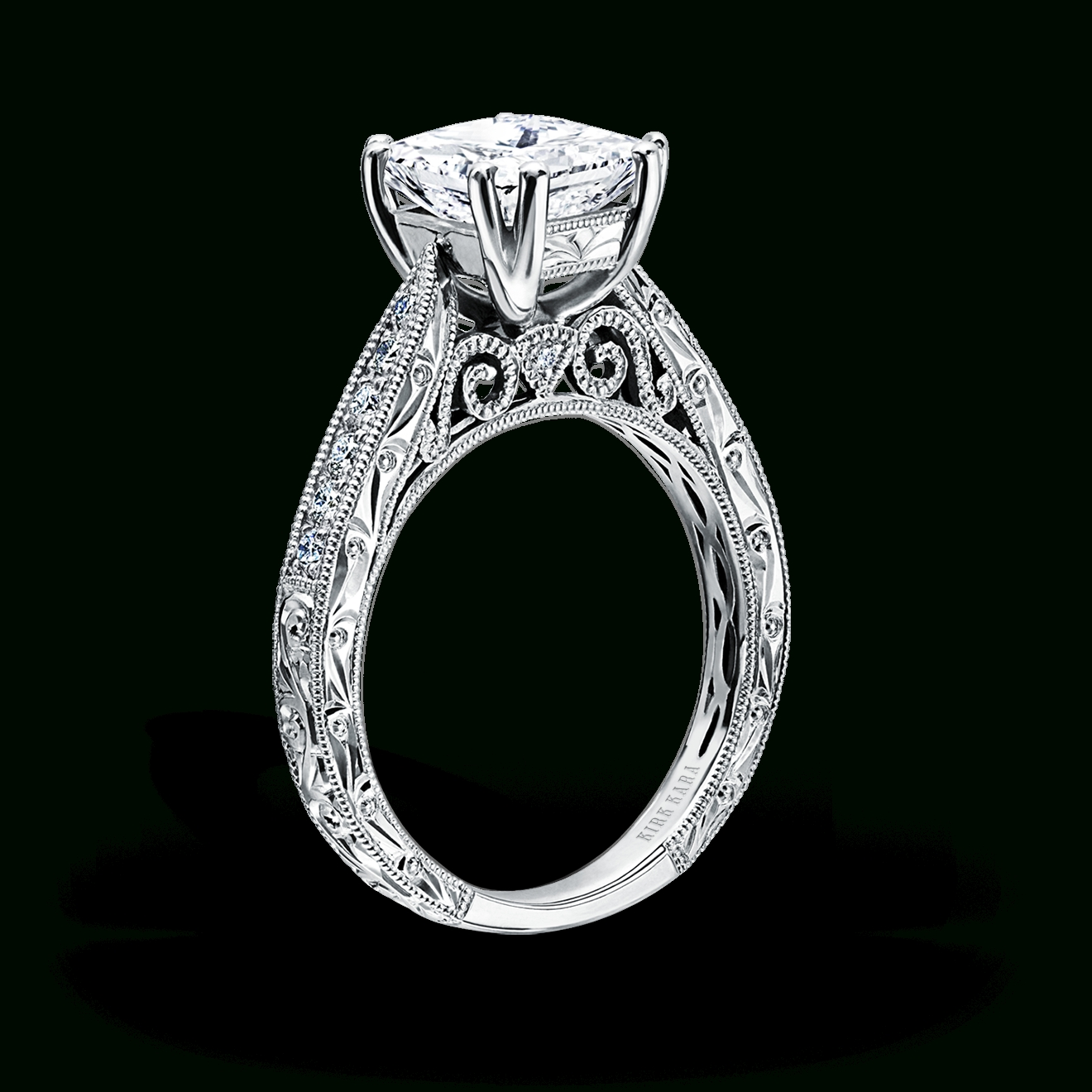 Vintage Inspired Filigree Diamond Engagement Ringskirk Kara Inside Wedding Rings Settings Without Center Stone (Gallery 2 of 15)