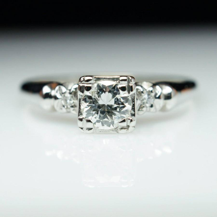 Vintage Old European Cut Diamond Solitaire Engagement Ring 14K In Most Up To Date Vintage Engagement Rings And Wedding Bands (Gallery 13 of 15)