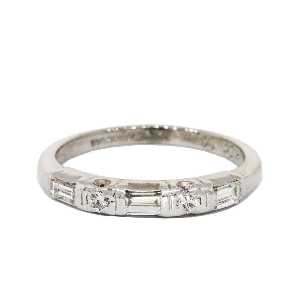 Vintage: Platinum And Diamond Baguette & Round Cut Band, Circa In Baguette Wedding Bands (View 12 of 15)