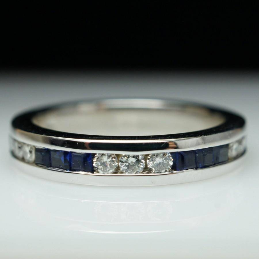 Vintage Sapphire & Diamond Wedding Band 14K White Gold Anniversary With Regard To Sapphire Wedding Bands (View 12 of 15)