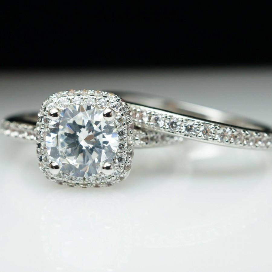 Vintage Style Diamond Cushion Shape Halo Engagement Ring Throughout Most Recent Custom Platinum Wedding Bands (Gallery 10 of 15)