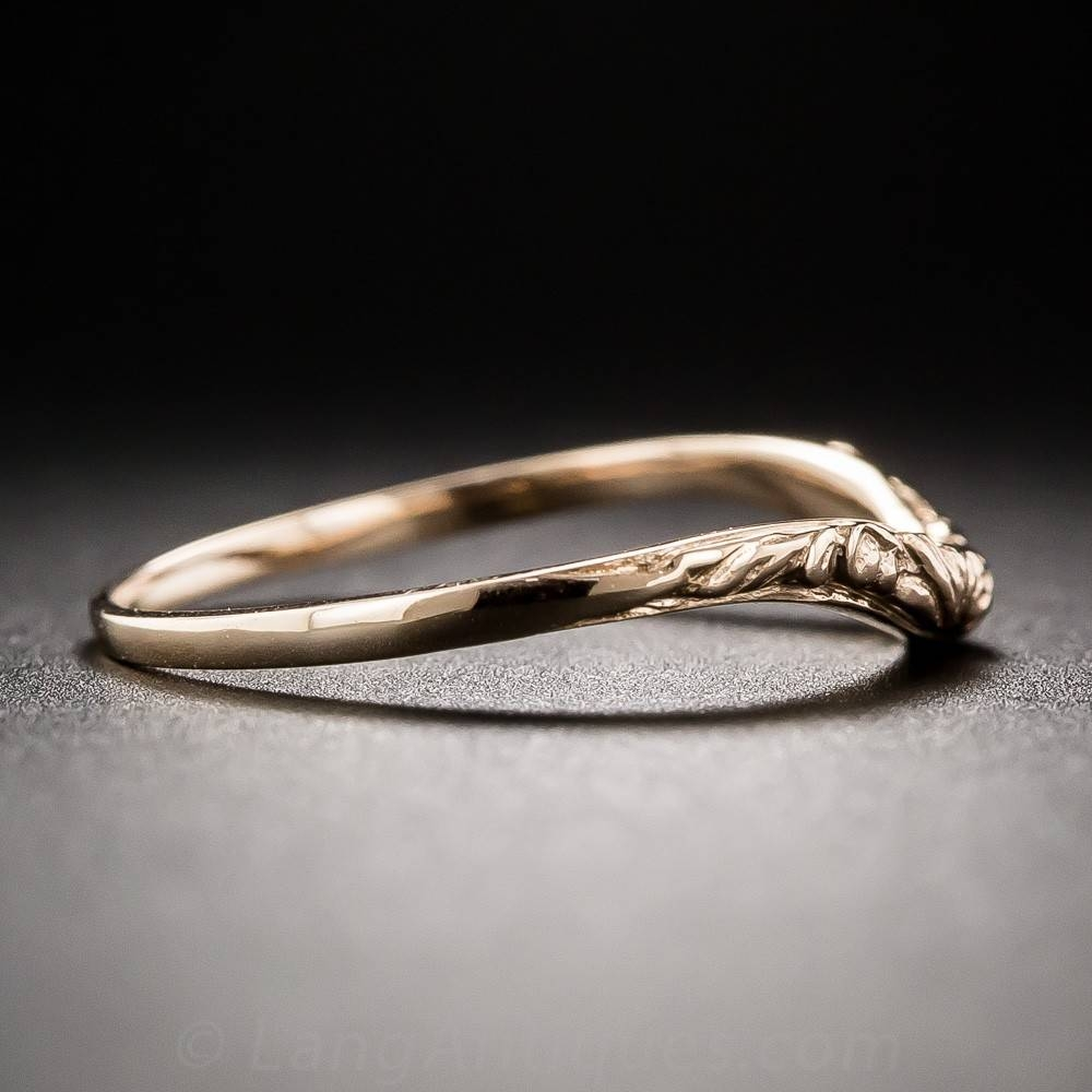 Vintage Style Floral Design Contoured Wedding Band For Contoured Wedding Bands (Gallery 13 of 15)