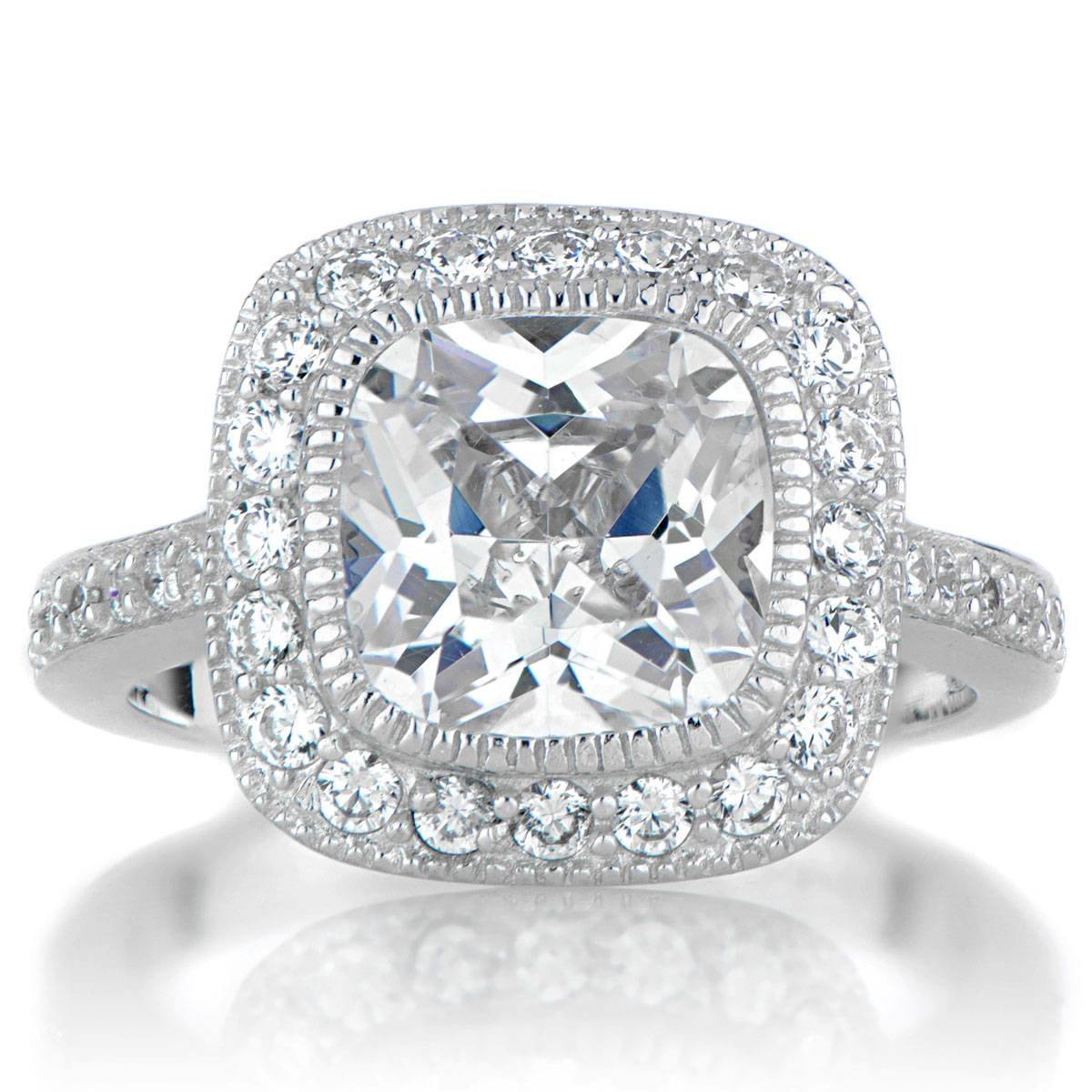 Vintage Style Halo Cushion Cut Cz Engagement Ring Intended For Vintage Halo Engagement Rings (View 14 of 15)