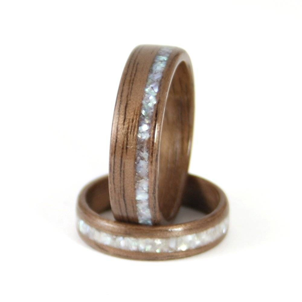 Walnut Wooden Wedding Rings – Harestree With Regard To Wood Inlay Wedding Rings (Gallery 1 of 15)
