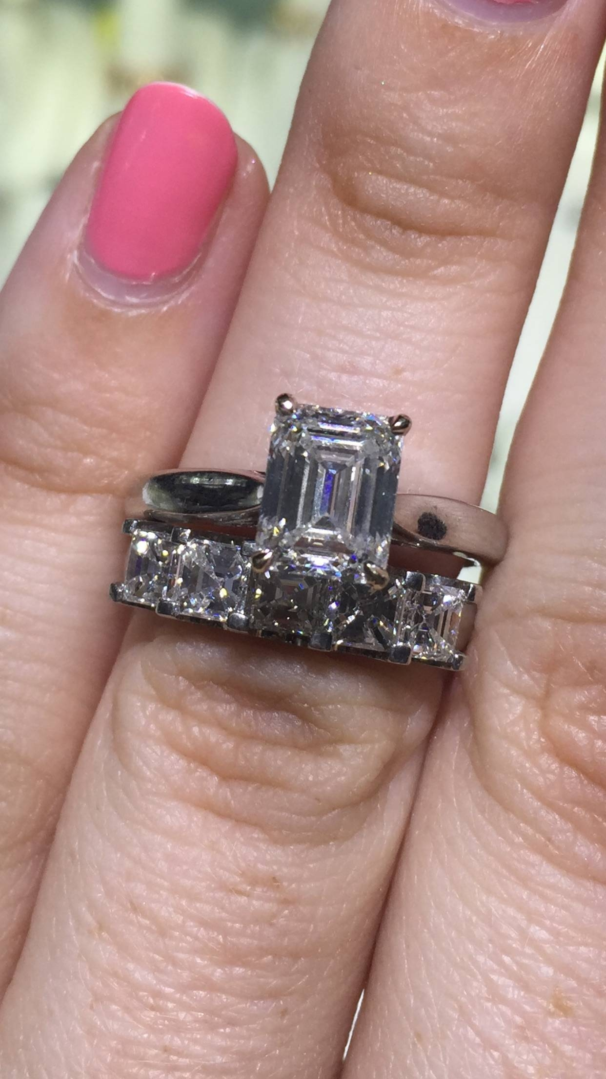 Wedding Band For An Emerald Cut Solitaire  Help! – Weddingbee Throughout Most Recent Asscher Cut Wedding Bands (View 14 of 15)