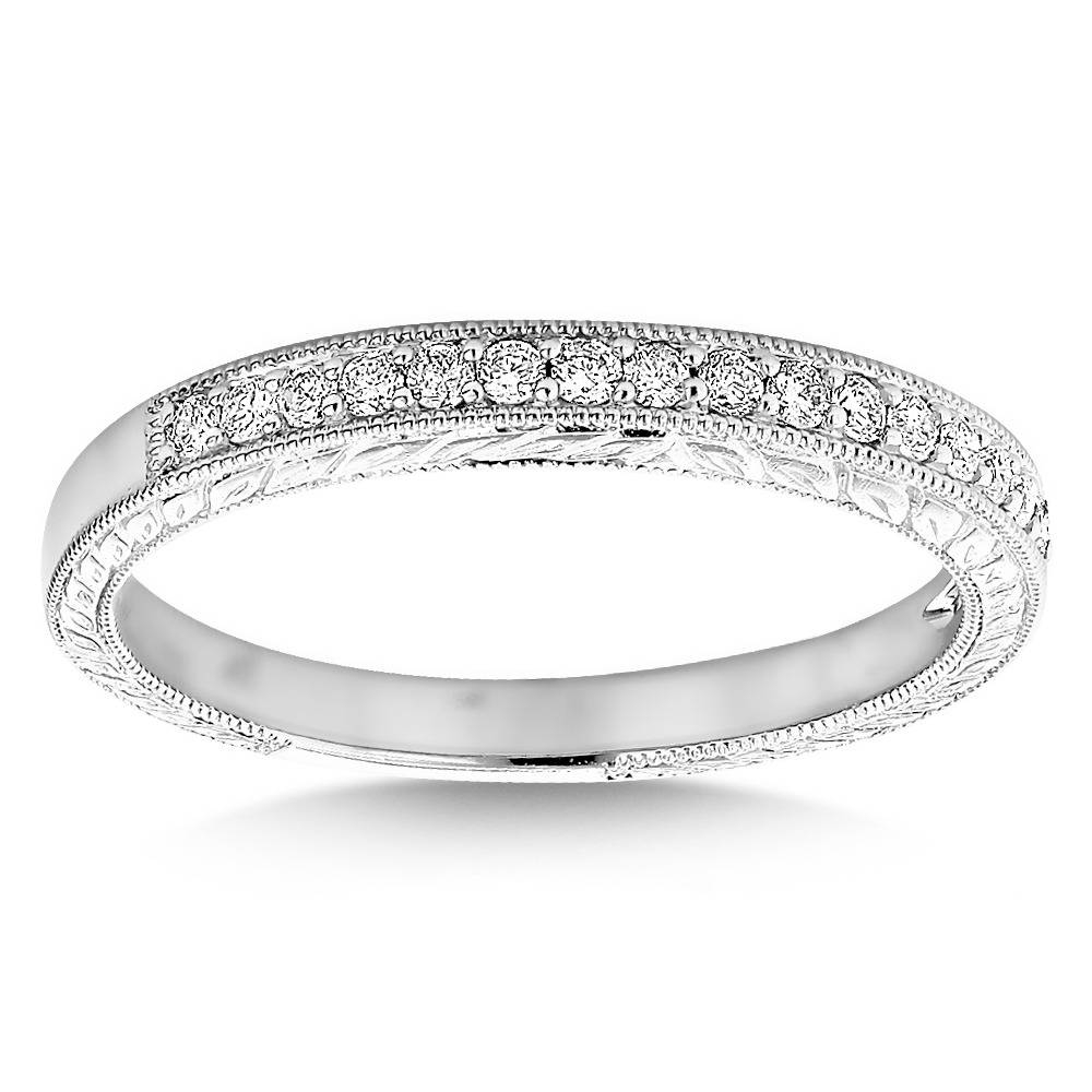 Wedding Band For Women 1/3ct Thin Antique Style Ring 14k Gold Regarding Thin Wedding Bands For Women (View 6 of 15)