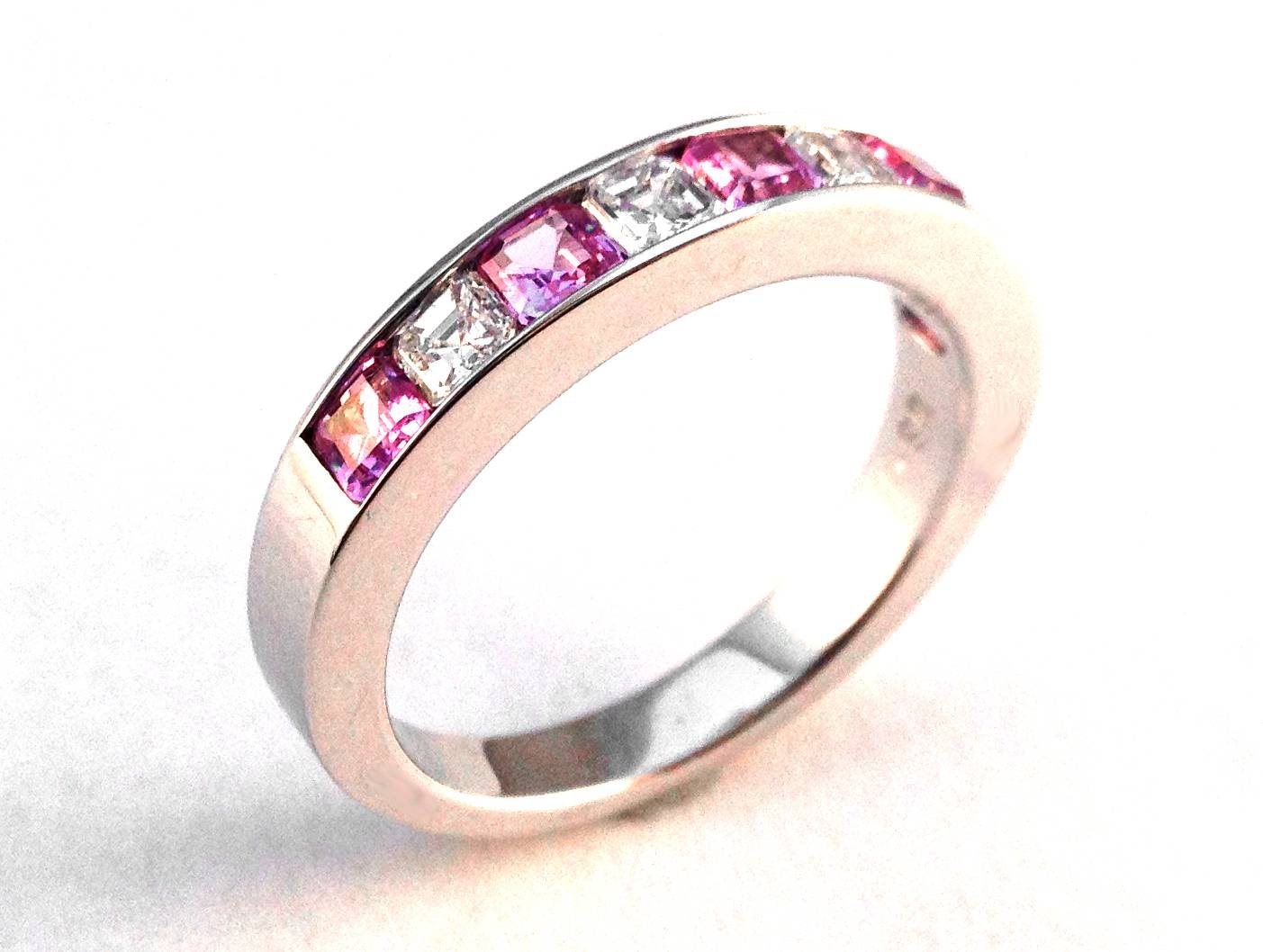 Wedding Band – Four Stone Asscher Diamond & Pink Sapphire Wedding Throughout Most Up To Date Pink And Diamond Wedding Bands (View 11 of 15)