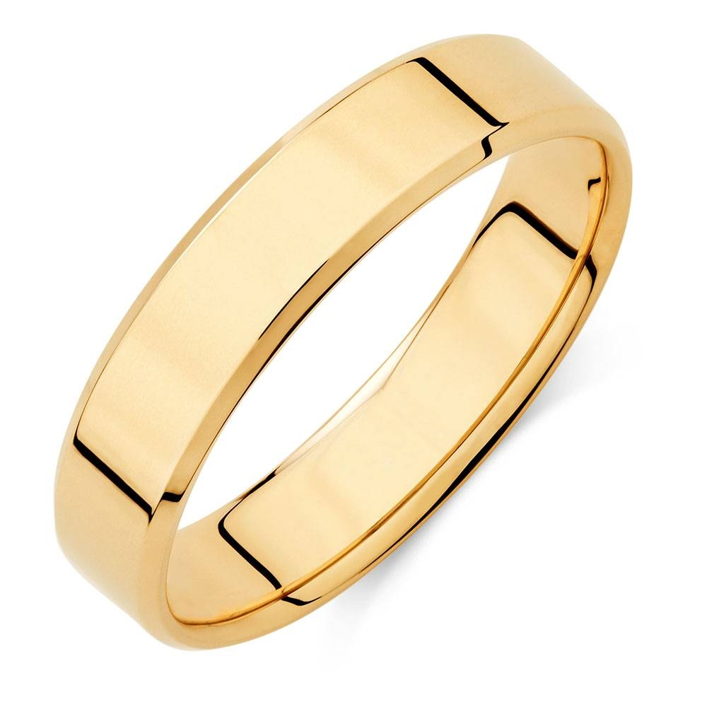 Wedding Band In 10Ct Yellow Gold Inside Recent Beveled Edge Mens Wedding Bands (View 14 of 15)