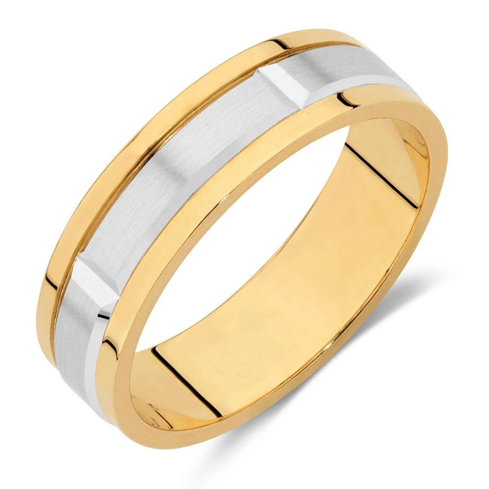 Wedding Band In 10Ct Yellow & White Gold Pertaining To Most Current Gold And White Gold Wedding Bands (View 10 of 15)