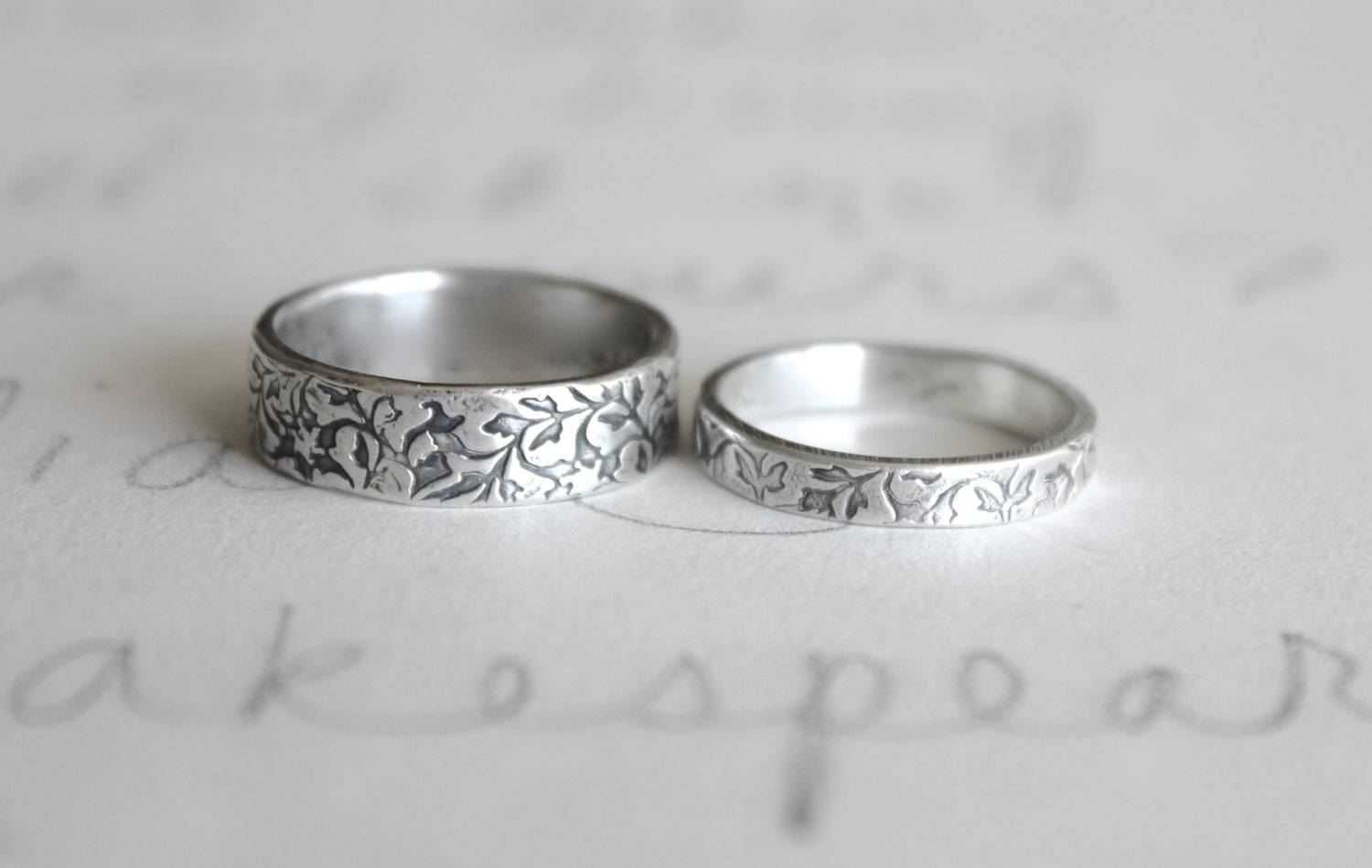 Wedding Band Ring Set . Vine Leaf Wedding Rings Bands  (View 14 of 15)
