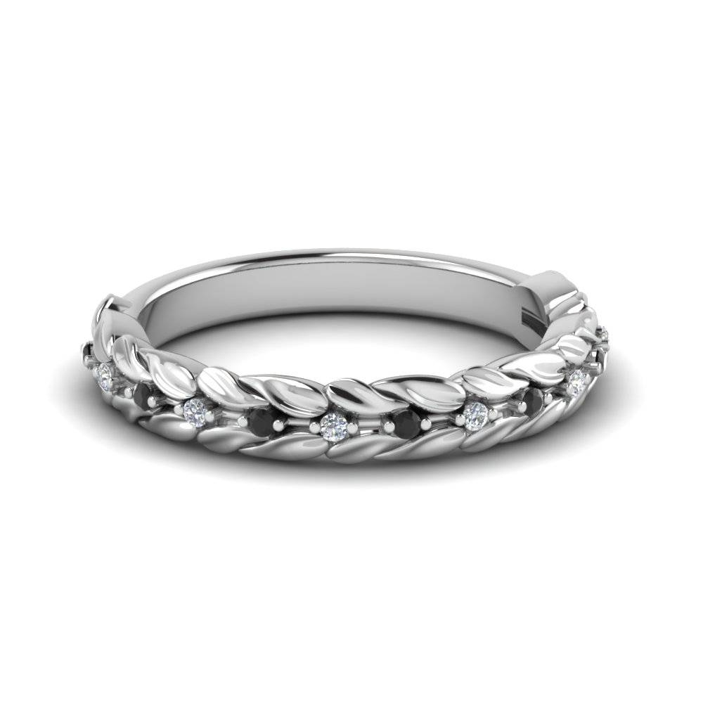 Wedding Band White Diamond With Black Diamond In 14k White Gold Inside Delicate Diamond Wedding Bands (View 4 of 15)
