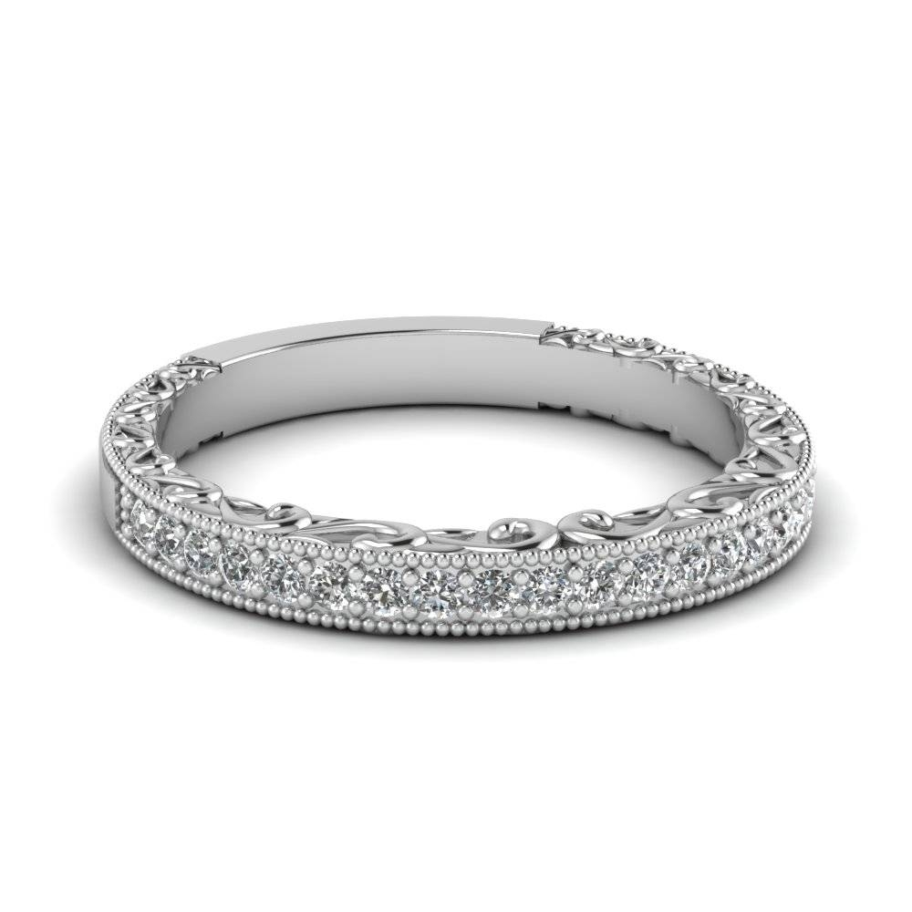 Wedding Band With White Diamond In 14K White Gold | Fascinating Throughout Most Up To Date Platinum Milgrain Wedding Bands (View 14 of 15)