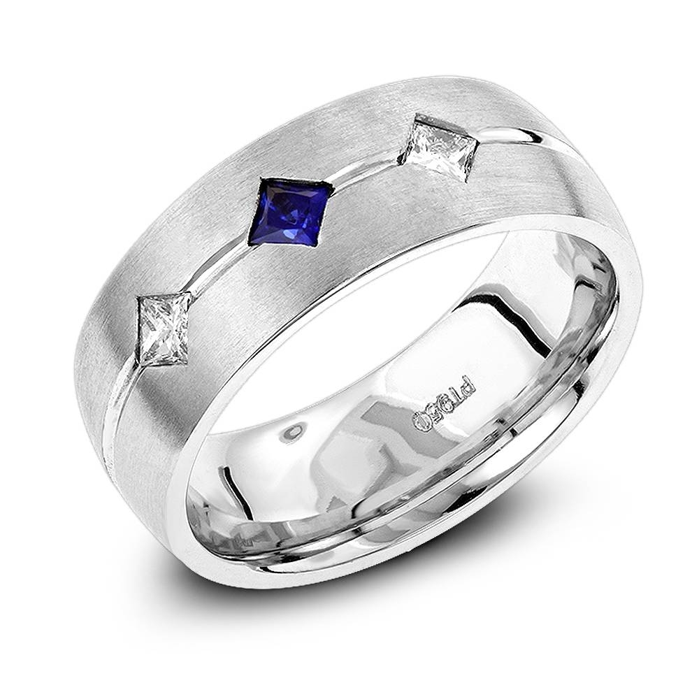 Wedding Bands: Platinum Sapphire Diamond Wedding Ring For Men Within 2018 Platinum And Diamond Wedding Bands (View 12 of 15)