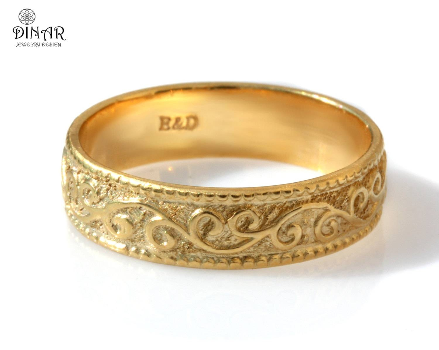 Wedding Ring 18K Yellow Gold Wedding Band 6Mm Gold Ring Art Pertaining To Engraved Gold Wedding Bands (View 15 of 15)