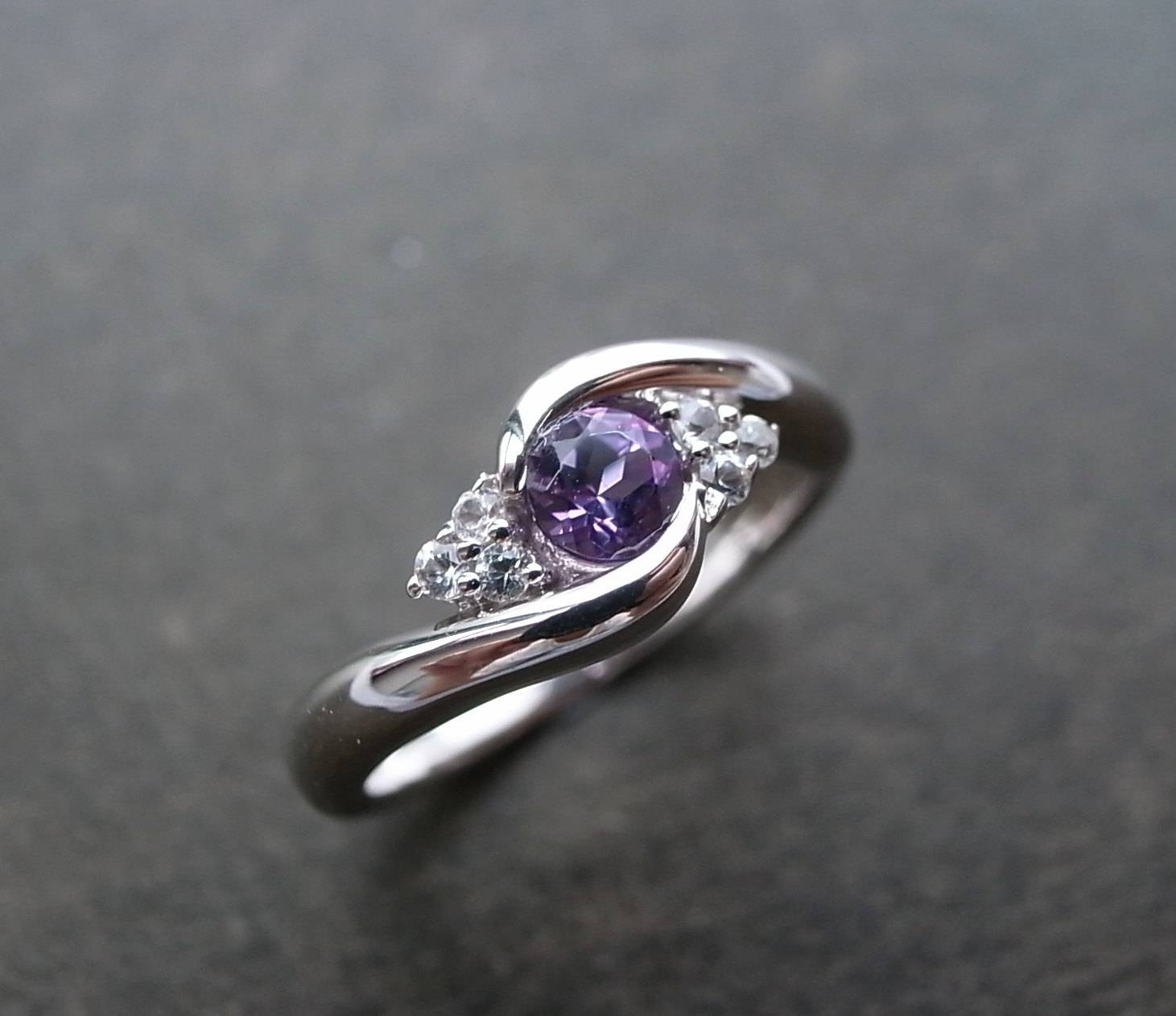 Wedding Ring With Amethyst And White Sapphire In 14k White Gold On Within Wedding Rings With Amethyst (View 7 of 15)