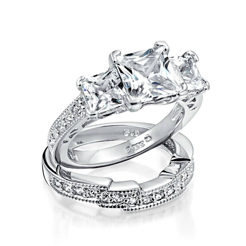 Wedding Rings : 2 Carat 3 Stone Diamond Ring Anniversary Ring Within Anniversary Wedding Bands Sets (View 9 of 15)