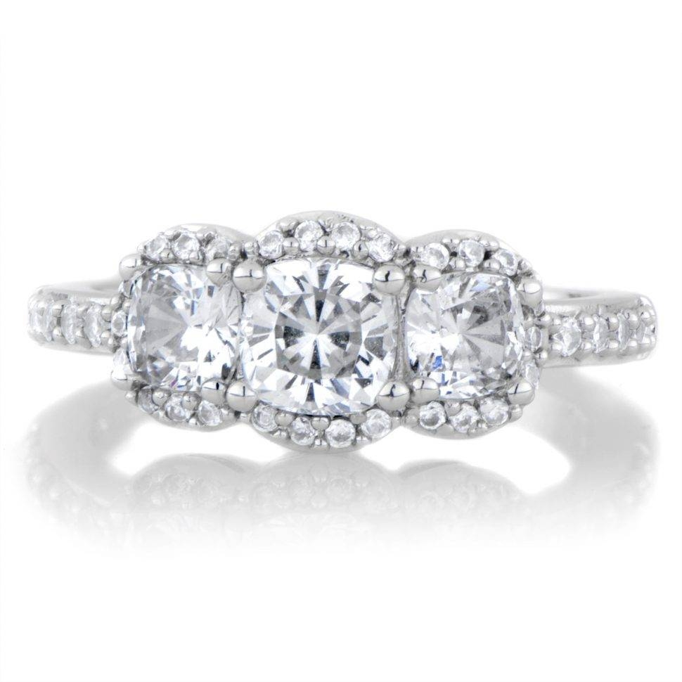 Wedding Rings : 3 Stone Ring Mountings 3 Stone Ring Settings Only In 3 Stone Halo Engagement Ring Settings (View 13 of 15)