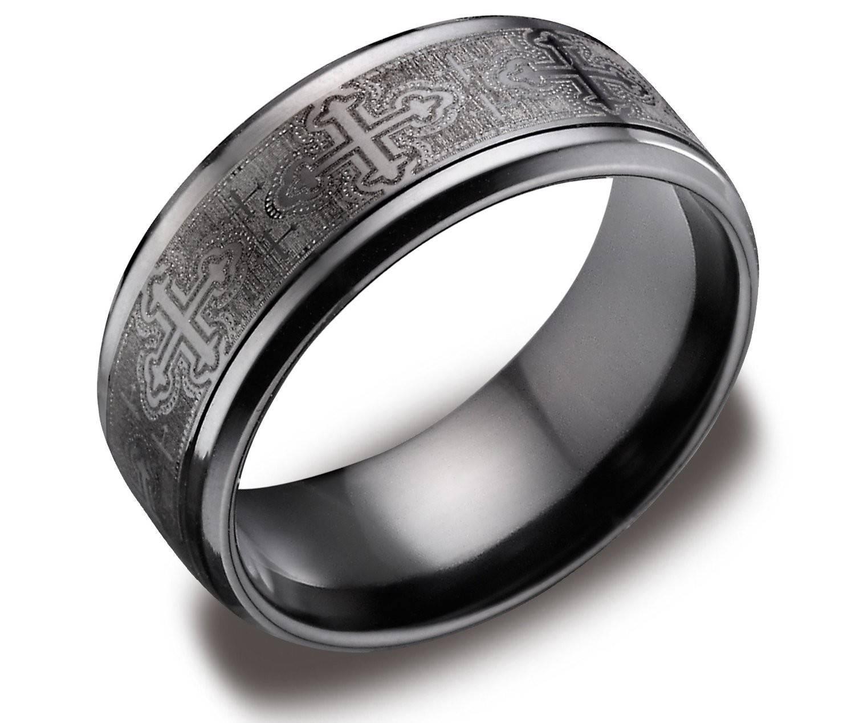 Wedding Rings : Black Wedding Ring Men Black Metal Engagement With Titanium Men Wedding Bands (View 12 of 15)