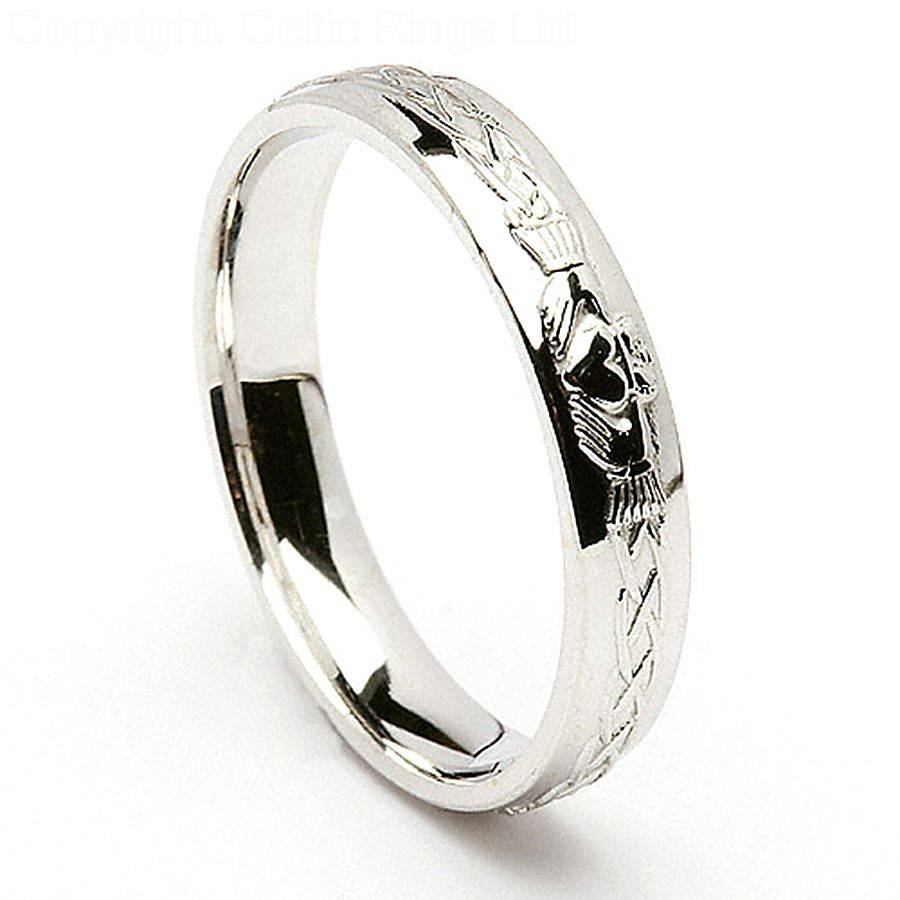Featured Photo of Mens White Gold Claddagh Wedding Bands