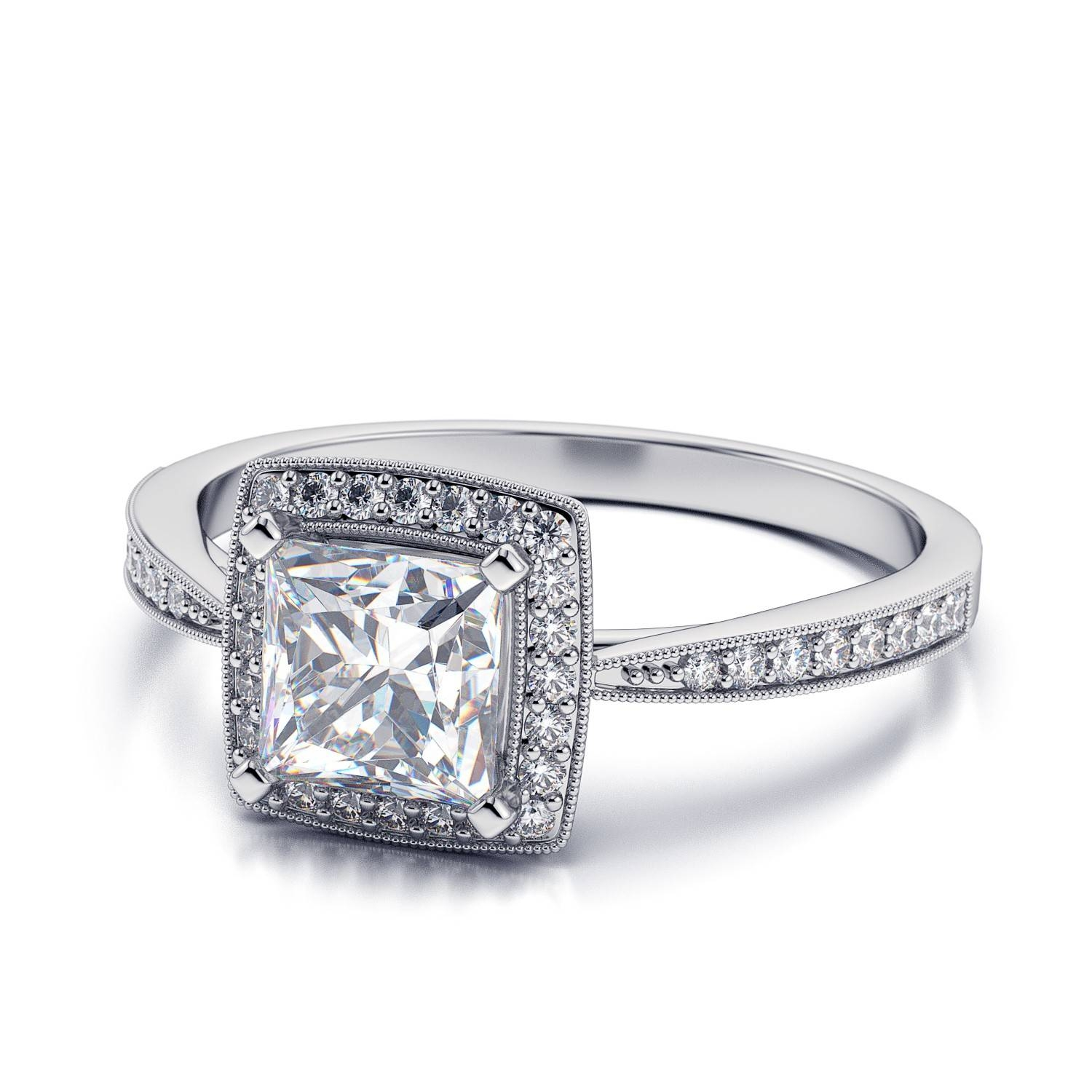 Wedding Rings : Cushion Cut Engagement Rings Rose Gold Solitaire For Simple Princess Cut Diamond Engagement Rings (Gallery 15 of 15)
