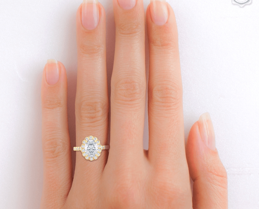 Wedding Rings : Dazzle Gold Halo Wedding Ring Pretty Oval Halo With Regard To Wedding Bands To Match Halo Rings (View 15 of 15)