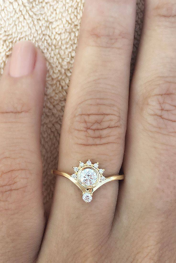 Wedding Rings : Flower Engagement Ring Vintage Rose Gold Halo Regarding Simple Modern Engagement Rings (View 12 of 15)