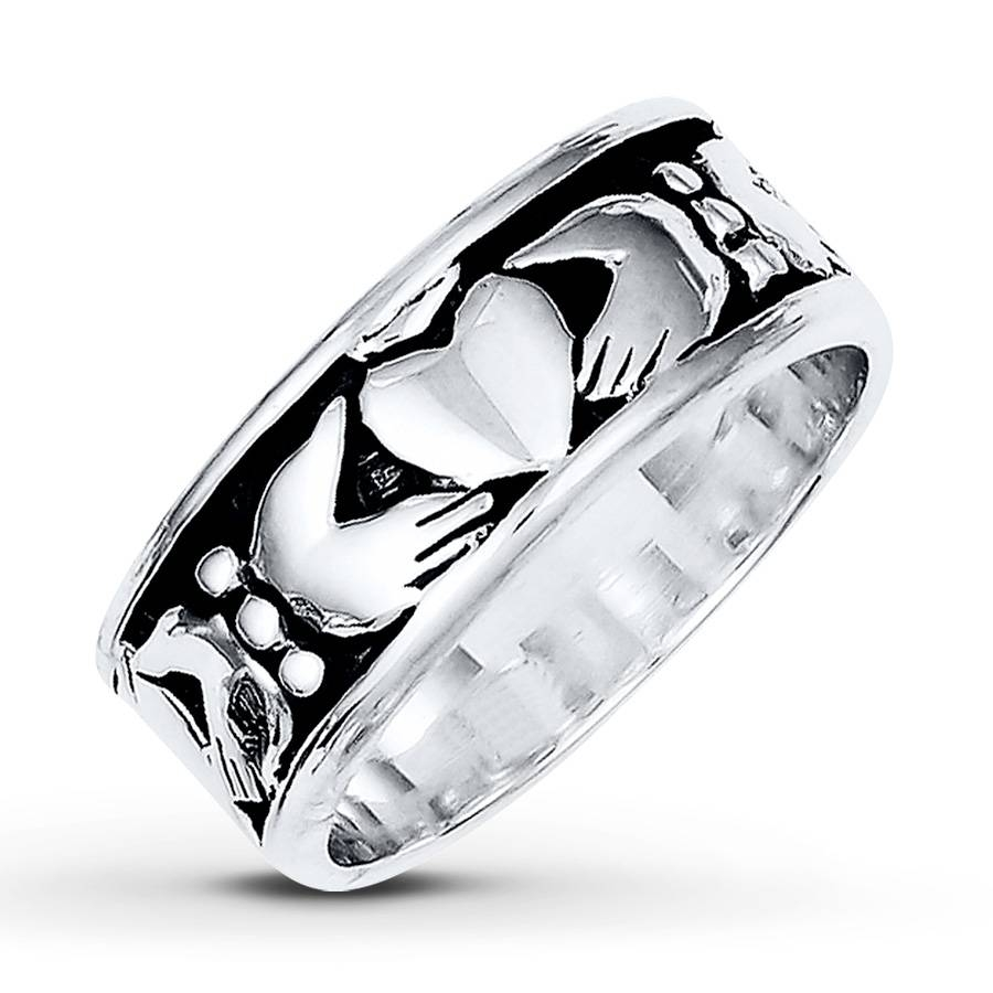 Wedding Rings : Mens White Gold Claddagh Wedding Band Celtic Throughout Mens White Gold Claddagh Wedding Bands (View 15 of 15)