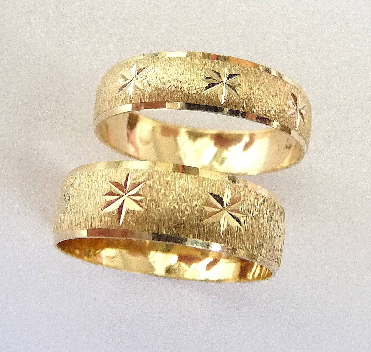 Wedding Rings Set Gold Men And Women Wedding Bands With Stars In Wedding Rings Gold For Women (View 12 of 15)