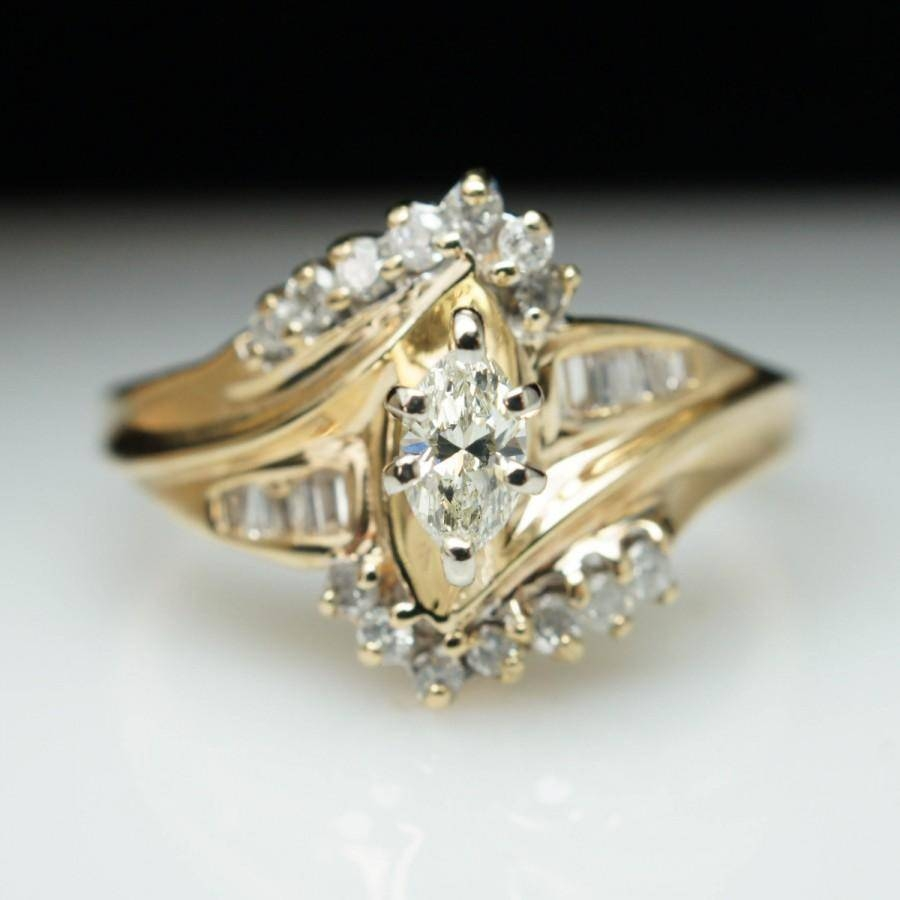 Wedding Rings : Solitaire Enhancers Wraps Guards Marquise Diamond Pertaining To White Gold Marquise Diamond Engagement Rings (View 13 of 15)