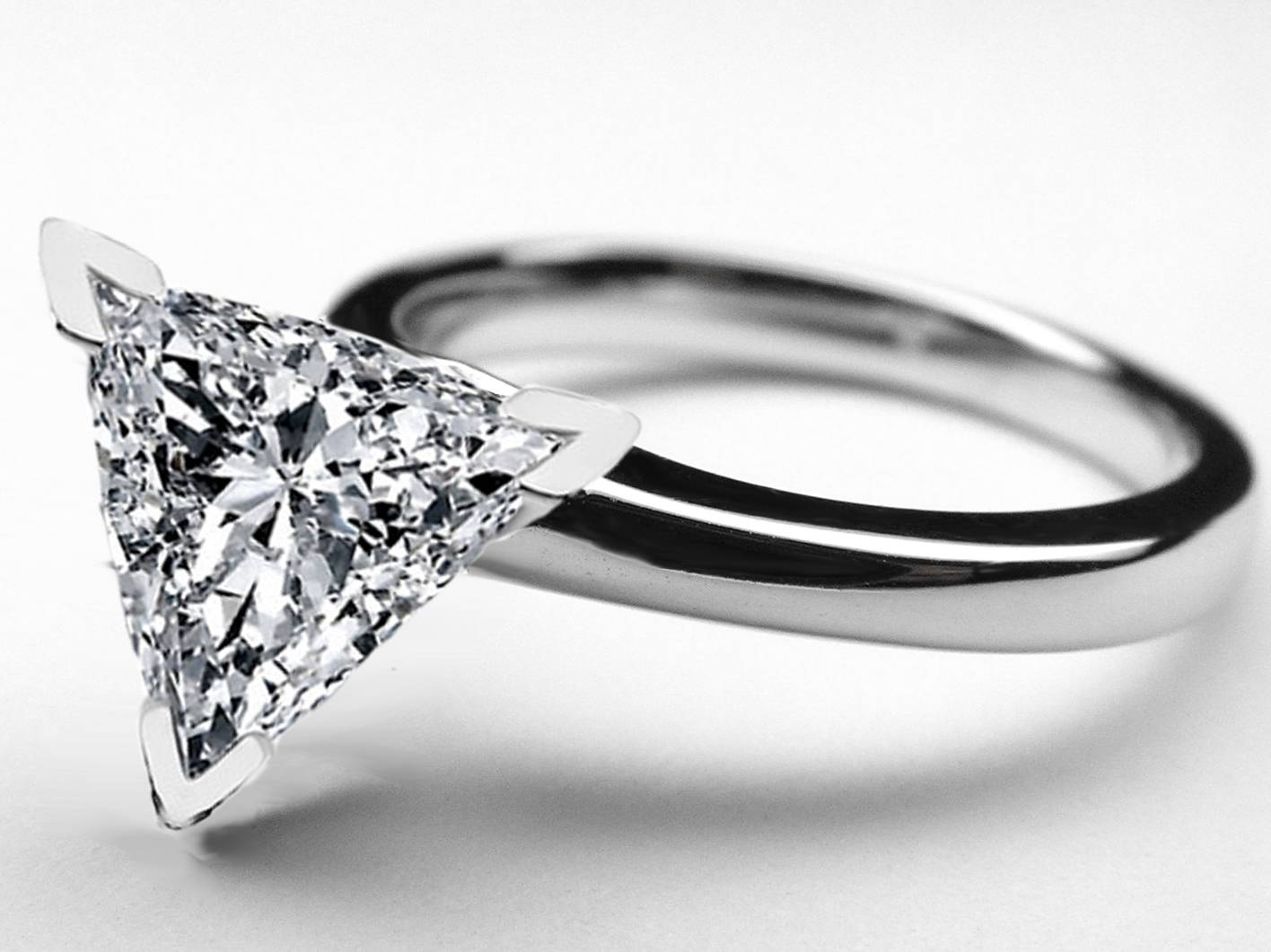 Wedding Rings : Trillion Cut Diamond Wedding Sets Trillion Cut Throughout Triangle Cut Diamond Engagement Rings (View 13 of 15)