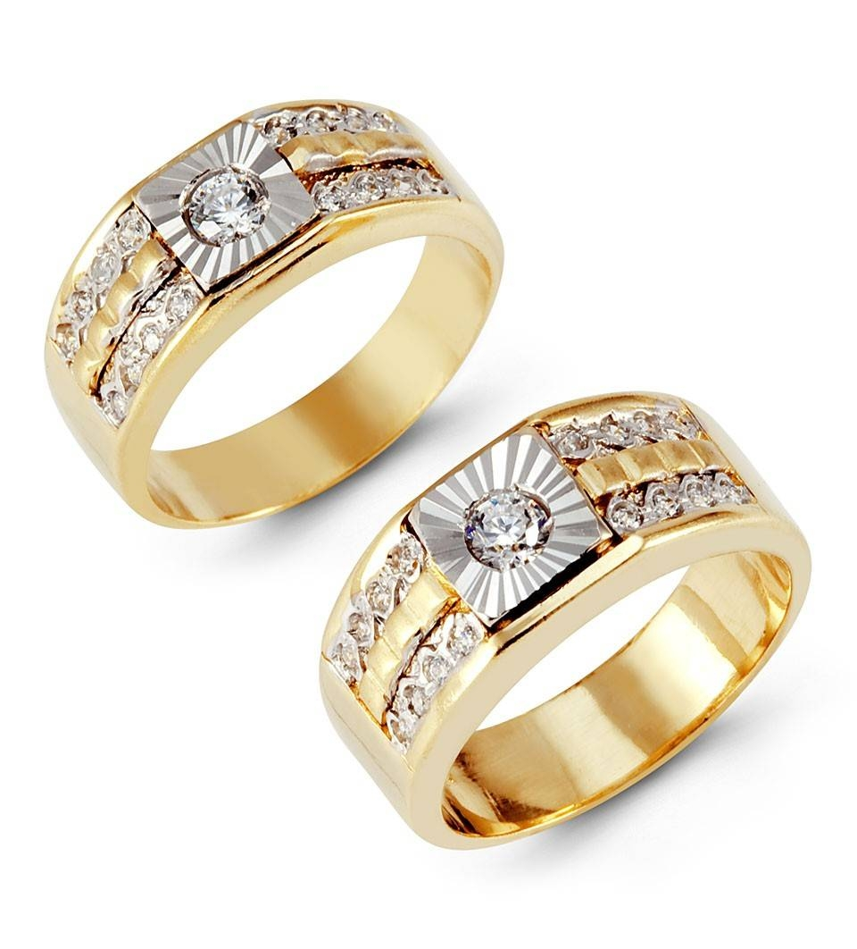 Wedding Rings : Trio Wedding Ring Sets Yellow Gold His And Hers Intended For Newest Yellow Gold Wedding Band Sets (View 8 of 15)