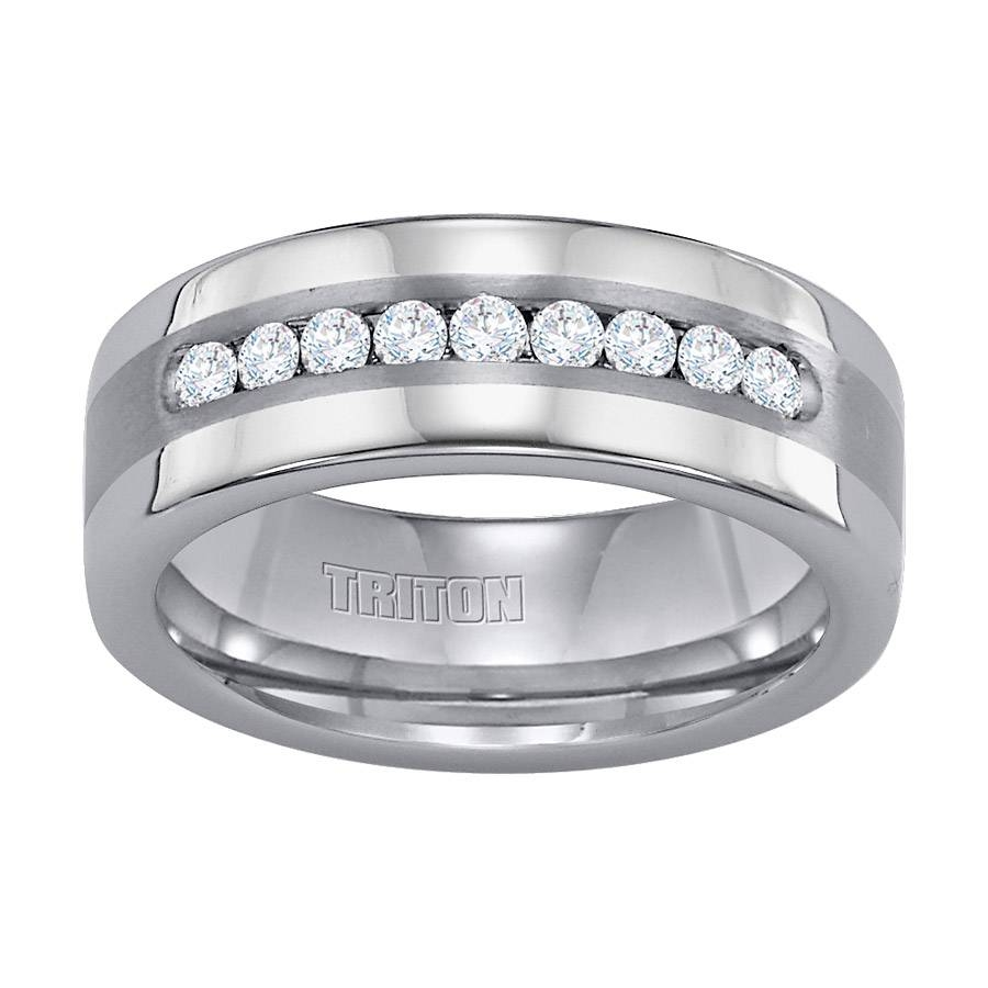 Wedding Rings : Tungsten Wedding Rings With Diamonds Tungsten And In Tungsten Diamond Wedding Rings (View 15 of 15)