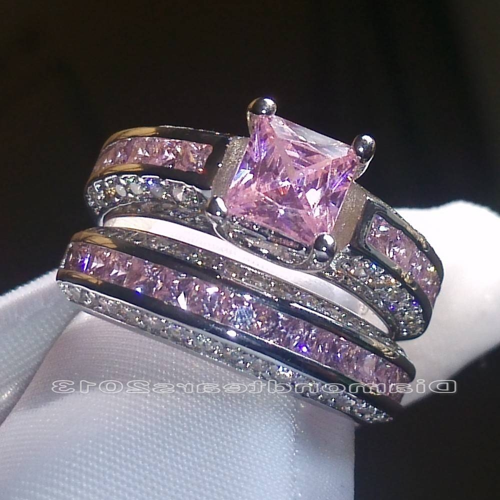 Wedding Rings : White Sapphire Wedding Bands Blue Sapphire Wedding With Newest Pink And Diamond Wedding Bands (View 15 of 15)