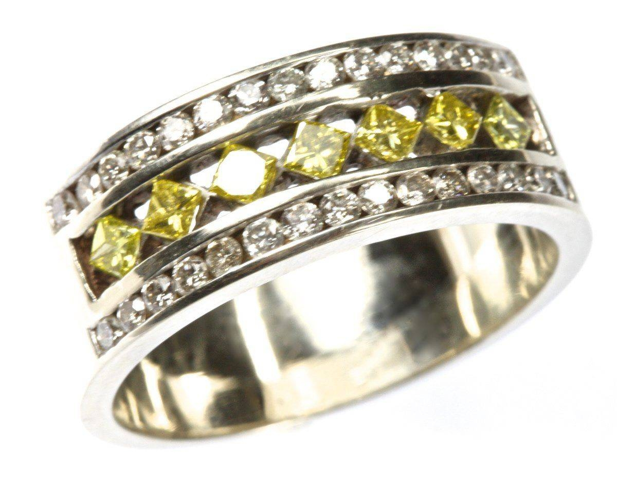 Wedding Rings : Yellow Diamond Chips Contact Fancy Yellow Diamond Pertaining To Most Current Diamond Chip Wedding Bands (View 3 of 15)